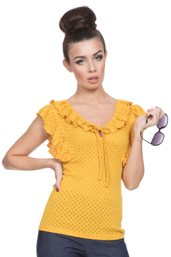 Voodoo Vixen - Women's Louis Retro Yellow Top - Egg n Chips London
