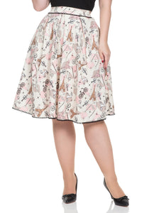 Voodoo Vixen - Women's Marienne Parisian Print Skirt - Egg n Chips London