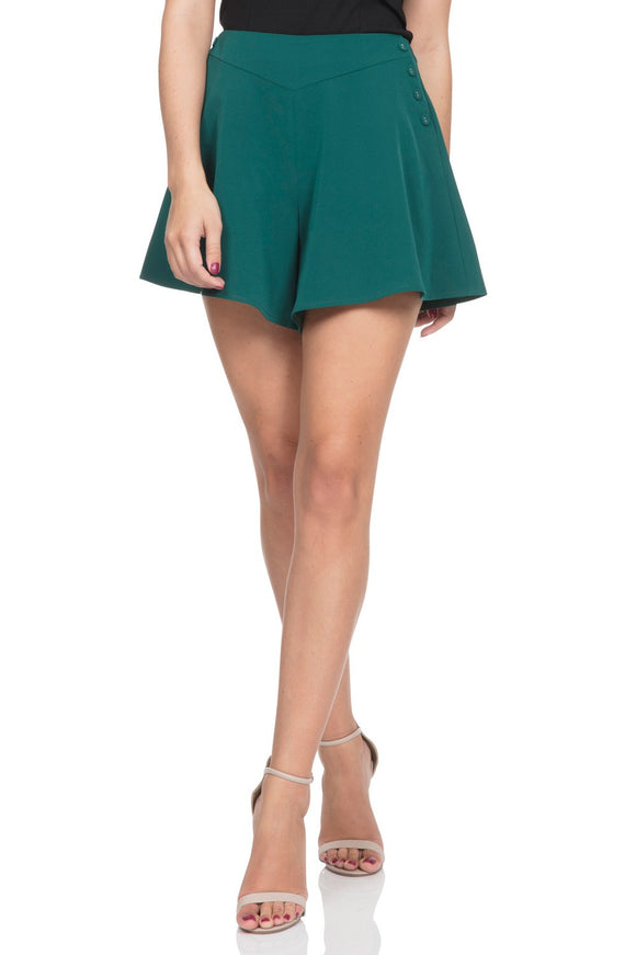 Voodoo Vixen - Women's Mira Deep Green Swing Shorts - Egg n Chips London