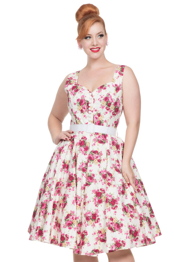 Voodoo Vixen - Women's Nicolette Floral Swing Dress - Egg n Chips London