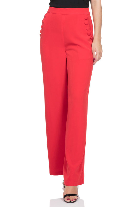 Voodoo Vixen - Women's Teddy Wide Leg Red Trousers - Egg n Chips London