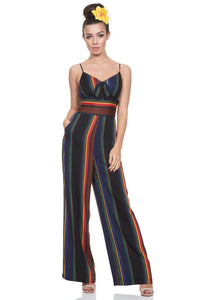 Voodoo Vixen - Women's Vivian Striped Jumpsuit with Bow - Egg n Chips London