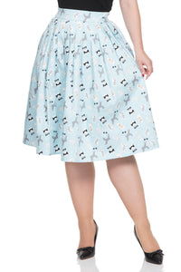 Voodoo Vixen - Women's Wendy Dog Print Skirt - Egg n Chips London
