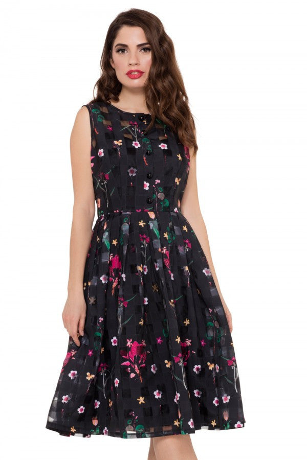 Voodoo Vixen - Betsy Floral Black Dress - Egg n Chips London