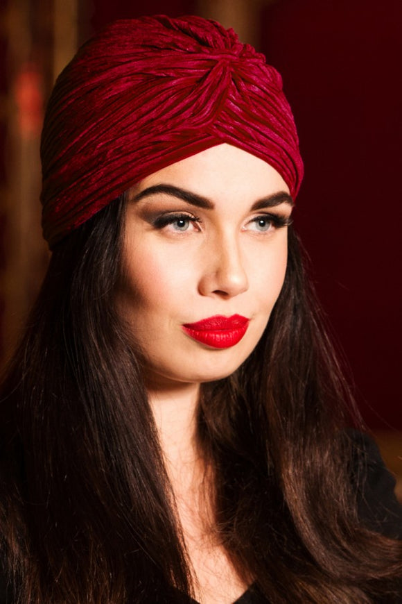 Voodoo Vixen - Red Vintage Style Velvet Turban - Egg n Chips London