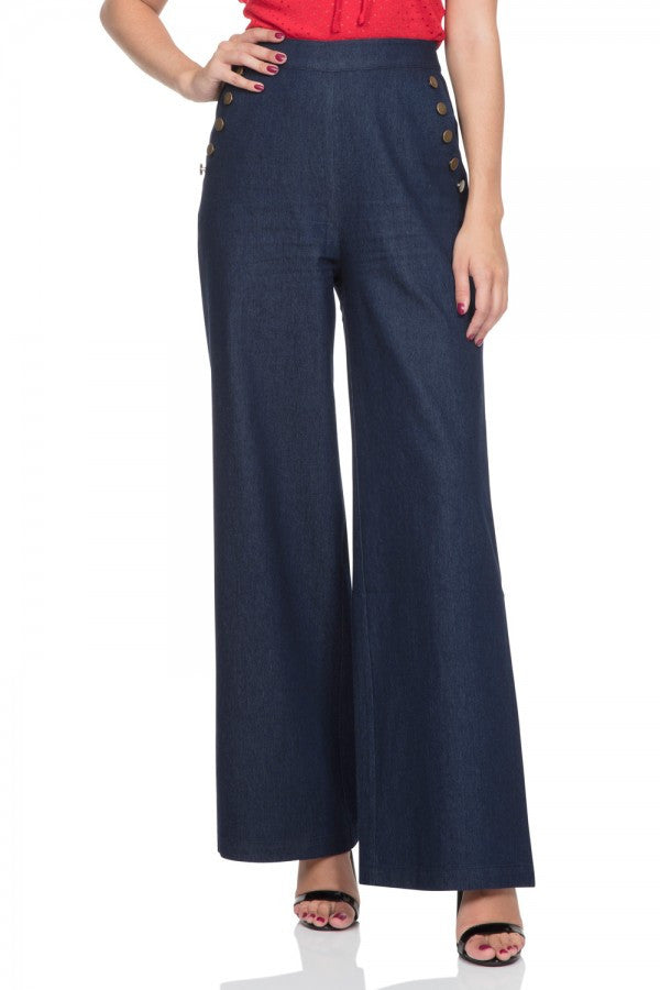 Voodoo Vixen - Samantha 40's style Denim Trousers - Egg n Chips London