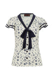 Voodoo Vixen - White Jaimie Nautical Print and Tie Blouse - Egg n Chips London