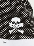 Queen of Darkness - White polka dot top with white skull