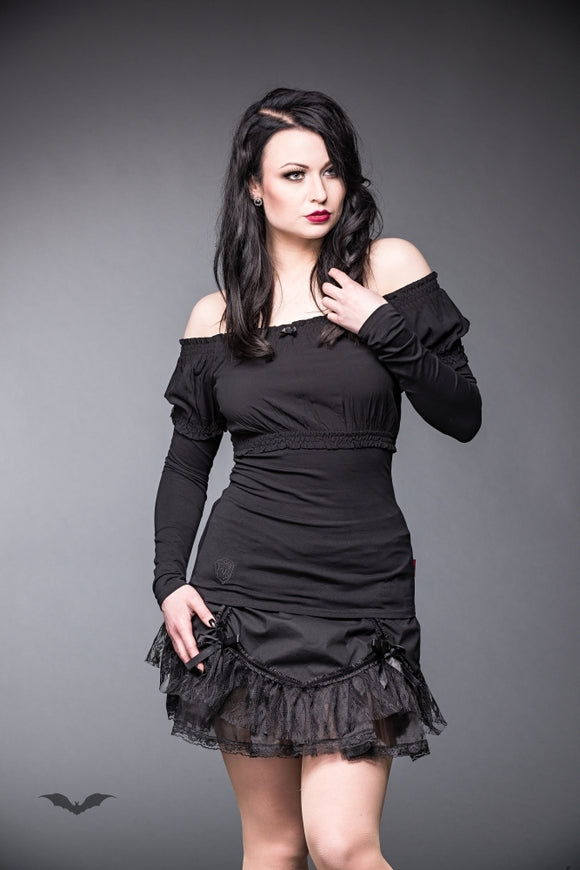 Queen of Darkness - Wide cut shirt with bow and rose