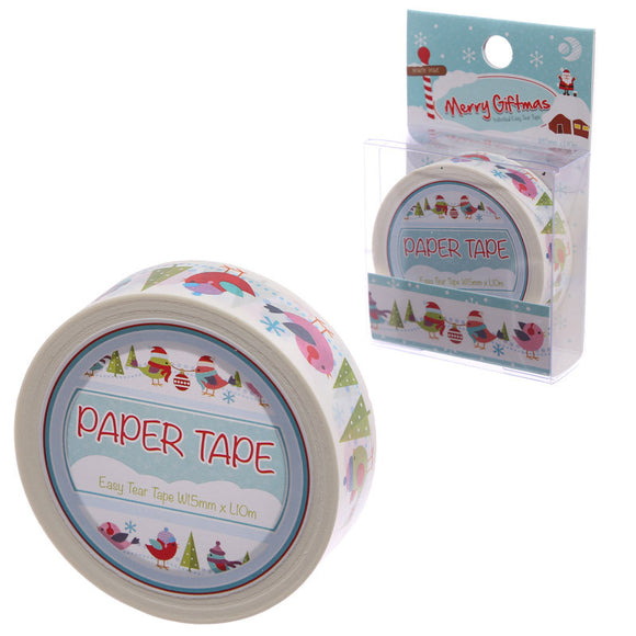 Egg n Chips London - 10 Metre Paper Self Adhesive Gift Tape - Christmas Robins - Egg n Chips London