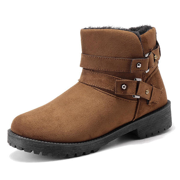 Lining Keep Warm Buckle Casual Cotton Snow Boots