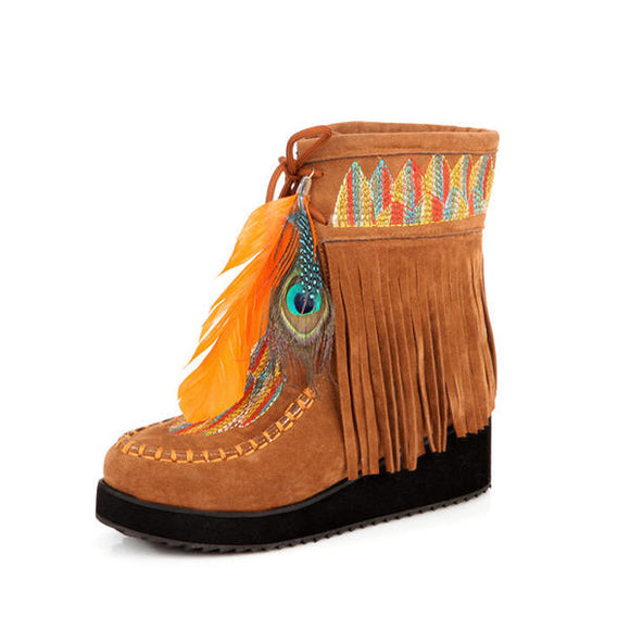 Fur Lining Embroidered Feather Tassels Wedge Ankle Boots