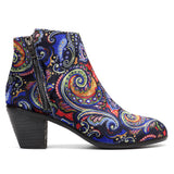 SOCOFY Painting Pattern Velvet Cloth Zipper Ankle Short Boots