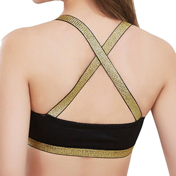 Sexy Plunge Back Criss-cross Hollow Wireless Patchwork Bra