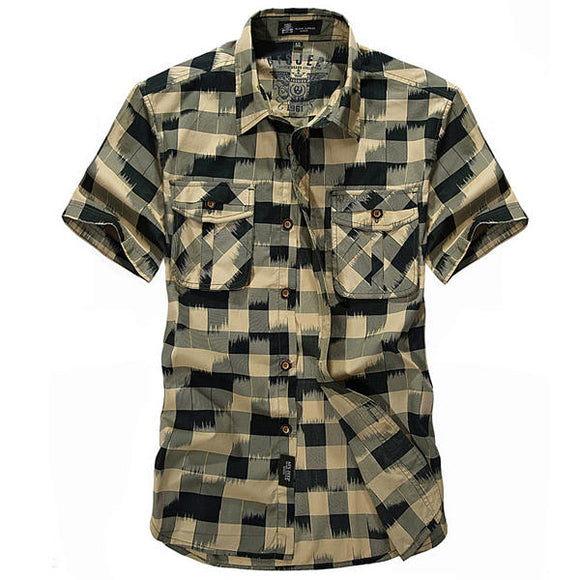 Mens Fashion Plaid Printing Loose Business Outdoor Summer Short Sleeve Cotton Shirt