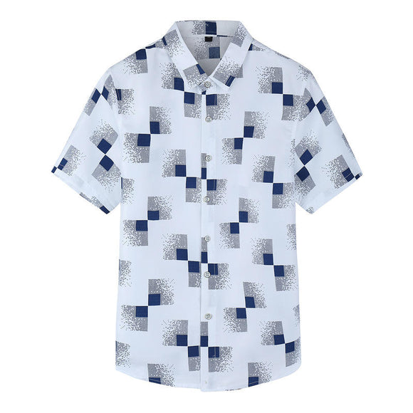 Plaid Printing Casual Business Summer Shirt