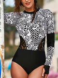 Sun Protection Long-Sleeved Surf Suit  Print Lace Hollow Swimwear