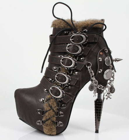 Hades Shoes - Adler Dark Brown Stiletto Booties