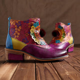 SOCOFY Genuine Leather Handmade Flowers Pattern Ankle Boots