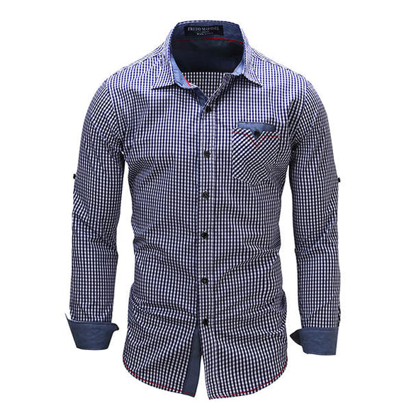 Mens Casual Plaid Cotton Long Sleeve Lapel Checker Shirt