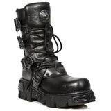 New Rock Shoes - All Black Boots with Reactor Soles - Egg n Chips London