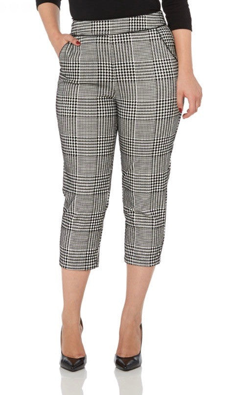 Voodoo Vixen - Angelina Houndstooth Retro Cropped Trousers - Egg n Chips London