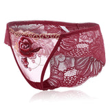 Luxury Lace Embroidery Mid Waisted Cotton Sexy Women Panties
