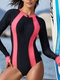 One-Pieces Zipper Front Closure Long-Sleeved Sun Protection Swimwear
