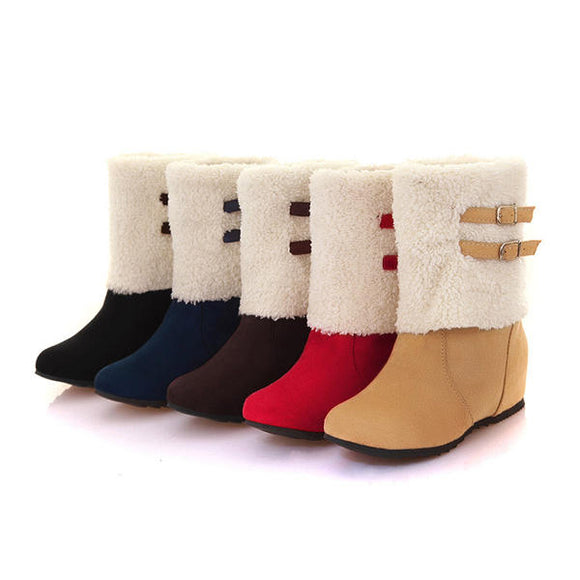 Casual Warm Cotton Lining Slip On Mid Calf Boots