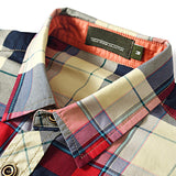 Mens Outdoor Cotton Plaid Printing Turn-down Collar Pocket Short Sleeve Shirt