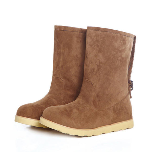 Winter Suede Flat Buckle Fur Lining Ankle Snow Boots