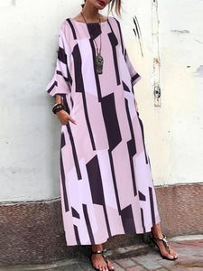 Loose Geometric Print Side Pockets Long Sleeve Dress SALE