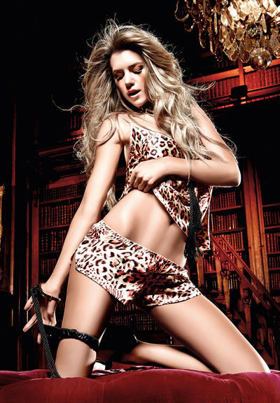 Baci Lingerie - Seduction Leopard Print Satin Camisole/Shorts Set - Egg n Chips London