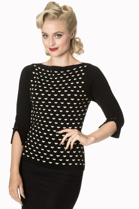 Banned Apparel - Charming Heart Knit Top - Egg n Chips London
