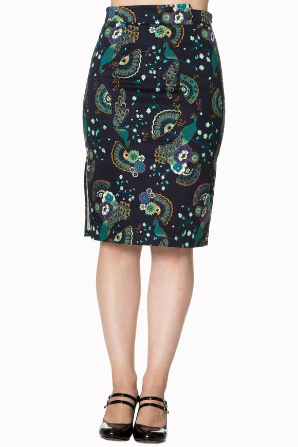Banned Apparel - Proud Peacock Pencil Skirt - Egg n Chips London