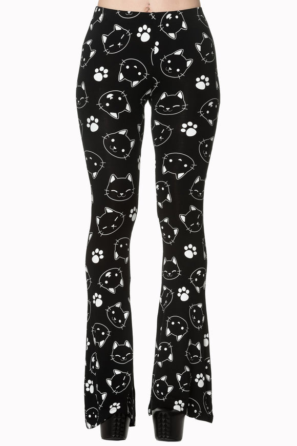 Banned Apparel - Purrrrfect Kitty Flare Trouser - Egg n Chips London