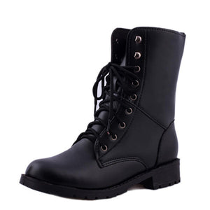 Lace Up Casual Fashion Outdooors Women Mid-Calf Boots