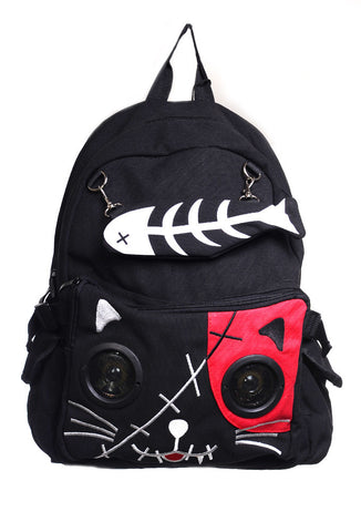 Banned Clothing - Red Kitty Speaker Backpack