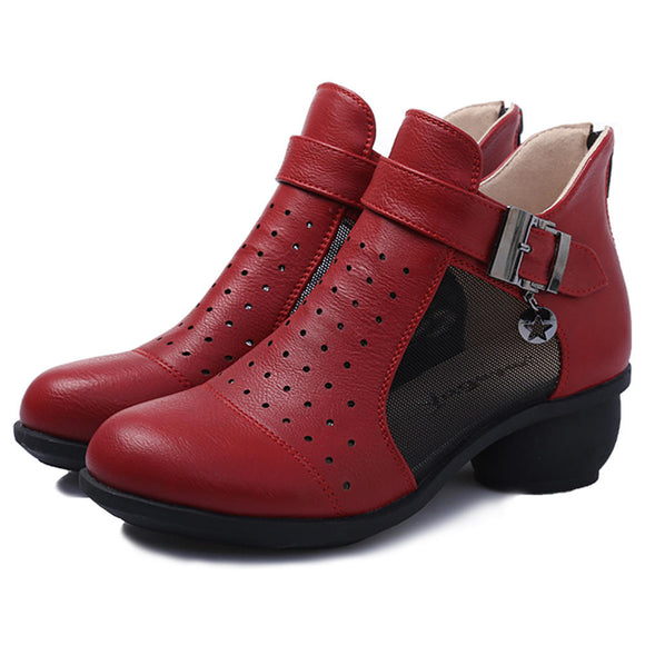 Retro Hollow Out Breathable Buckle Zipper Ankle Boots