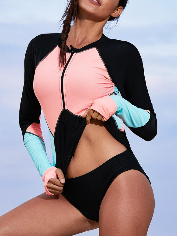 One-Piece Zipper Long-Sleeved Sun Protection Swimwear