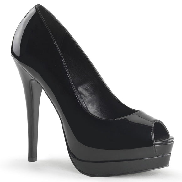 Bordello - Bella Black Peep Toe Pump - Egg n Chips London
