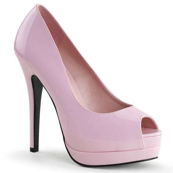 Bordello - Bella baby Pink Peep Toe Pump - Egg n Chips London