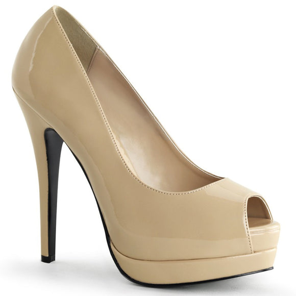 Bordello - Bella Cream Peep Toe Pump - Egg n Chips London