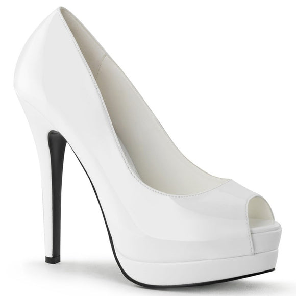 Bordello - Bella White Peep Toe Pump - Egg n Chips London