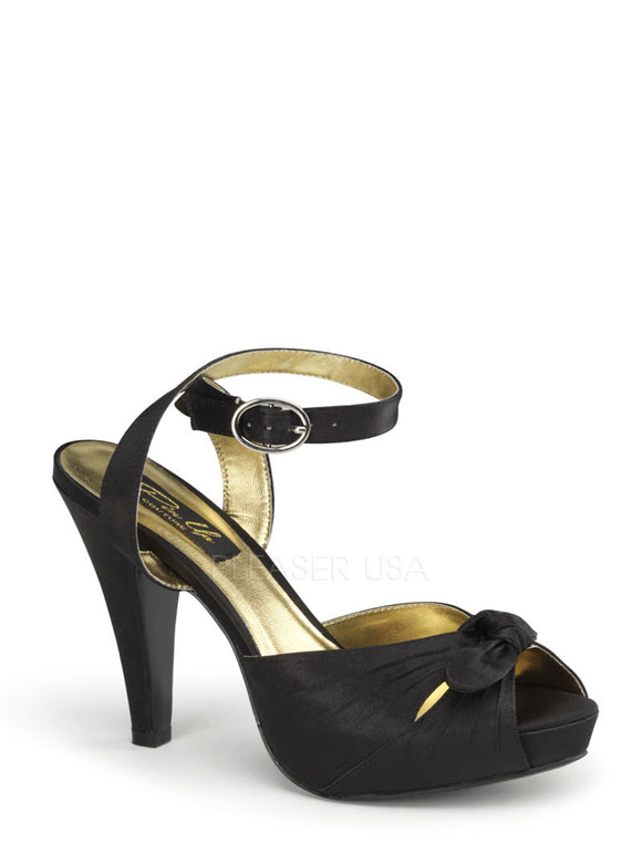 Pin Up Couture - Bettie Black Satin Sling Back Peep Toe Heels