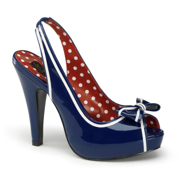 Pin Up Couture - Bettie Navy Blue Nautical Sling Back Peep Toe Heels - Egg n Chips London