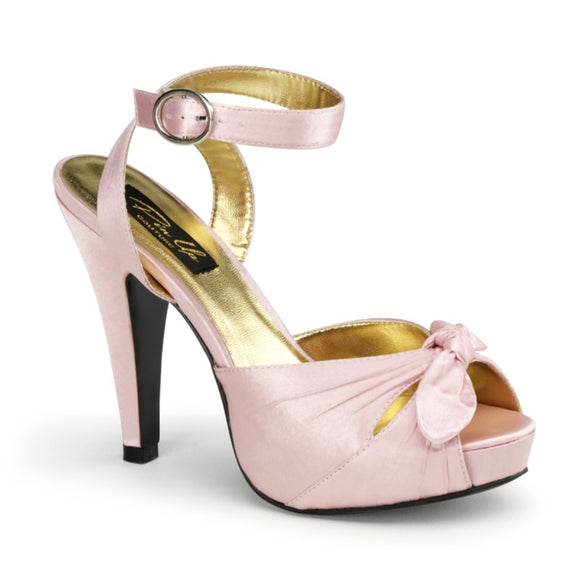 Pin Up Couture - Bettie Pink Satin Ankle Strap  Peep Toe Heels - Egg n Chips London