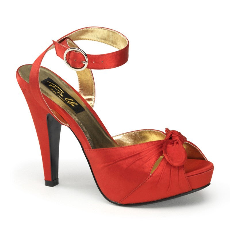 Pin Up Couture - Bettie Red Satin Ankle Strap  Peep Toe Heels