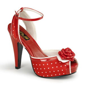 Pin Up Couture - Bettie Red Satin Polka Dot Ankle Strap Peep Toe Heels - Egg n Chips London