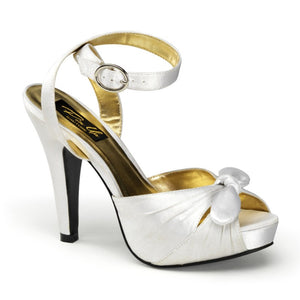 Pin Up Couture - Bettie White Satin Ankle Strap Peep Toe Heels - Egg n Chips London